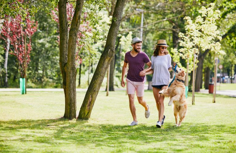 Young couple running and playing with their dog outdoors in the morning